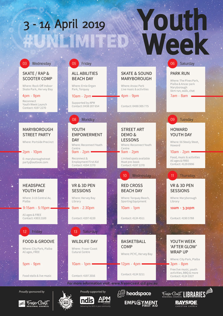 Youth week calendar 2019
