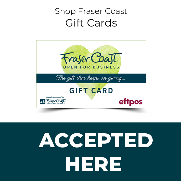 Fraser coast gift card accepted here square blue